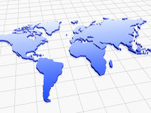 World. Blue 3d model of world map over white background Royalty Free Stock Photos