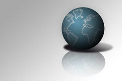 World #3. Earth Globe with shadow and reflection stock illustration