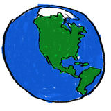 World. A childlike drawing of the earth from the western hemisphere Royalty Free Stock Photos
