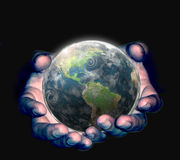 World. Hand holding the earth illustration Royalty Free Stock Image