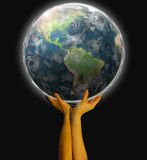 World. Hand holding the earth illustration Royalty Free Stock Photography