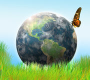 World. Earth,meadow and butterfly illustration Royalty Free Stock Photos