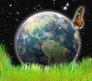 World. Earth,meadow and butterfly illustration Royalty Free Stock Photo