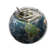 World. Earth blend whit ashtray illustration Stock Photo