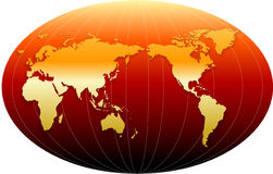 World. Gold World Globe - isolated over white background Royalty Free Stock Photos