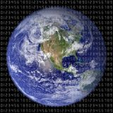 World. A view of earth with numbers on it symbolizing IT world Royalty Free Stock Photography