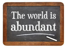 The world is abundant. White chalk text on a vintage slate blackboard royalty free stock photo