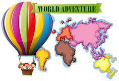 World adventure poster with map and balloon Royalty Free Stock Photography