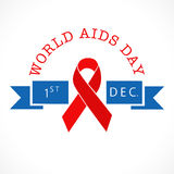 World Aids awareness Day poster with red aids ribbon. 1st December, World Aids Day concept with red ribbon of aids awareness with text on blue ribbon Stock Images