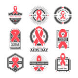 World aids and cancer day label set Royalty Free Stock Photos