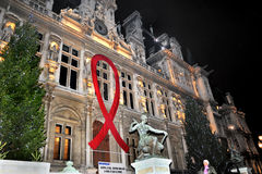 World AIDS Day. Paris, France, Giant Red Ribbon, Fight Against AIDS, on Facade of the Paris City Hall Building, H-tel de Ville, December 1, World Aids Day, at Stock Image