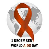 World Aids Day Aids Awareness ribbon The 1st December. Vector illustration. World Aids Day Aids Awareness ribbon The 1st December Vector stock illustration