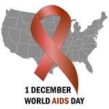 World Aids Day Aids Awareness ribbon The 1st December. Vector illustration. World Aids Day Aids Awareness ribbon The 1st December. Vector royalty free illustration