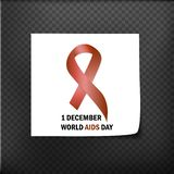 World Aids Day Aids Awareness ribbon The 1st December. Vector illustration. World Aids Day Aids Awareness ribbon The 1st December. Vector stock illustration