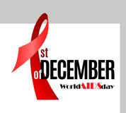 World Aids Day awareness placard. 1st of December by Red Ribbon design concept. Vector Illustration Royalty Free Stock Images