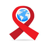 World AIDS Day Awareness Red Ribbon Earth Globe Royalty Free Stock Photography