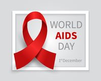 World aids day background. Hiv day red ribbon vector medicine backdrop. 1st december day world aids illustration banner stock illustration