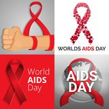 World aids day banner set, cartoon style vector illustration