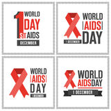 World AIDS day cards collection Royalty Free Stock Images
