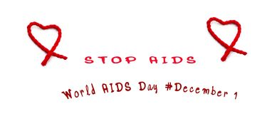 Red heart with red text stop aids on white background, world Aids Day concept, December 1st. World Aids Day concept, international campaign to protection Aids Vector Illustration