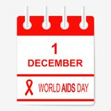 World Aids Day  1 December. calendar sheet. Royalty Free Stock Photo