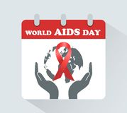 World AIDS Day. December 1 on the calendar. The symbol is a red ribbon royalty free illustration