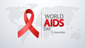 World AIDS Day 1 December. Poster with Red Ribbon on world map. Vector Illustration. World AIDS Day 1 December. Poster with Red Ribbon on world map royalty free illustration