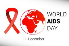 World AIDS Day 1 December. red hiv ribbon awareness. Vector. Illustration Royalty Free Illustration