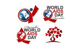 World Aids Day 1 December Set. Vector Stock Illustration