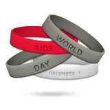 World AIDS Day, December 1st.  Poster with rubber wristbands Royalty Free Stock Images