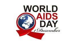 World Aids Day 1 December. Logo Design Template Vector Stock Illustration