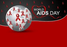 World aids day design of red ribbon and world Stock Photo
