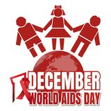 World Aids Day design. World Aids Day. 1 December. Red ribbon of AIDS awareness and globe with people. World Aids Day concept. Vector illustration Stock Images
