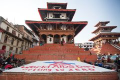 During at World AIDS Day on Durbar Square. According to UNAIDS data 2012 Royalty Free Stock Photos