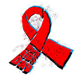 World AIDS Day emblem. Red ribbon in grunge style logo. Spray an Royalty Free Stock Photos