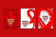 World AIDS Day with hand drawn red ribbon design flyer vector illustration. Aids Awareness icon design for ads, poster, banner, or royalty free illustration