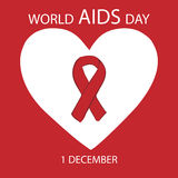 World AIDS day heart red ribbon Stock Images