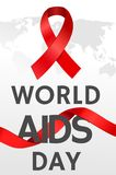 World aids day illustration with ribbons and map. AIDS poster with map and ribbon. December 1st. Vector illustration Royalty Free Stock Images