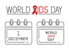 World Aids Day line icons set. 1 December. Holiday date in calendar. Vector illustration Stock Photography