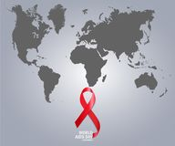 The World Aids Day on map. Vector illustration. The World Aids Day on map Royalty Free Stock Image