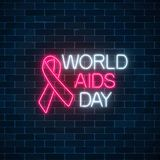 World Aids Day neon sign with red ribbon. Support for people living with HIV banner. 1st december world aids day symbol. World Aids Day neon sign with red ribbon Stock Illustration