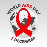 World AIDS Day poster. Aids Awareness. 1st December banner with globe map and ribbon. Vector. Royalty Free Stock Images