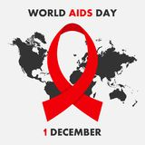 World AIDS Day poster. Aids Awareness. 1st December banner with map and ribbon. Vector. Royalty Free Stock Images