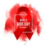 World Aids Day poster. With red satin ribbon and type design over red watercolor background. Vector illustration Stock Image
