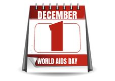 World Aids Day. Red desk calendar. 1 December. Vector illustration isolated on white background Stock Illustration