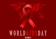 World Aids Day with red ribbon and grunge map Royalty Free Stock Image