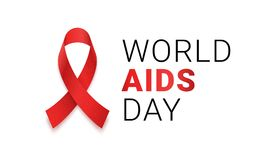 World AIDS day red ribbon icon. Vector 1 December HIV and AIDS awareness or solidarity red ribbon logo symbol or emblem badge on w Stock Photography