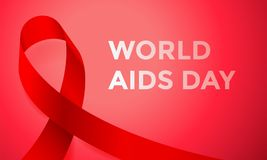 World AIDS day red ribbon poster or banner for 1 December awareness world day. Vector HIV and AIDS ribbon logo symbol or emblem ba Royalty Free Stock Photo
