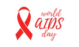 World AIDS day red ribbon poster or banner for 1 December support symbol. Vector HIV and AIDS awareness ribbon logo icon or emblem. Badge with text on white Royalty Free Stock Images