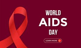 World AIDS day red ribbon poster or web banner design template for 1 December awareness world day. Vector HIV and AIDS ribbon symb Stock Photography